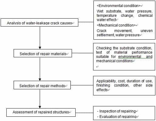 Repair of leakage structure