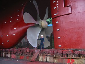The white patches visible on the ship's hull are zinc block sacrificial anodes
