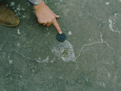 Absorptive aggregate popout on spillway floor