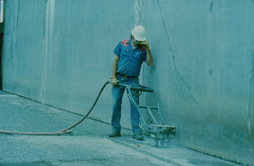 Scrabbler equipment used to remove shallow concrete deterioration
