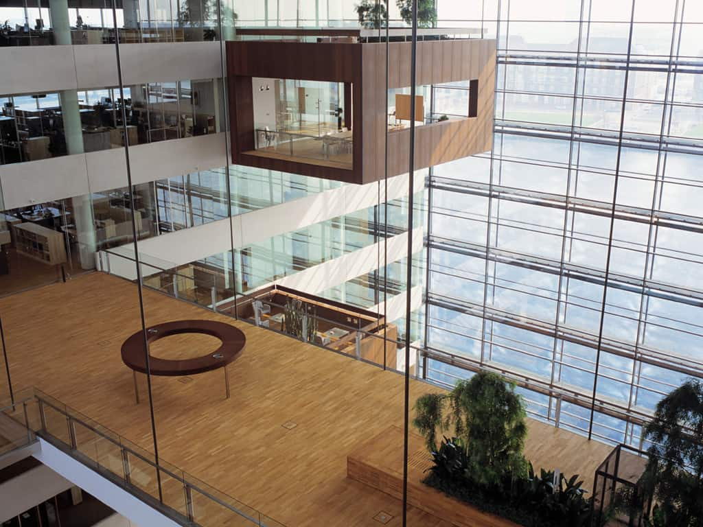 The building has a low energy-consumption of only 70 kWh per sqm