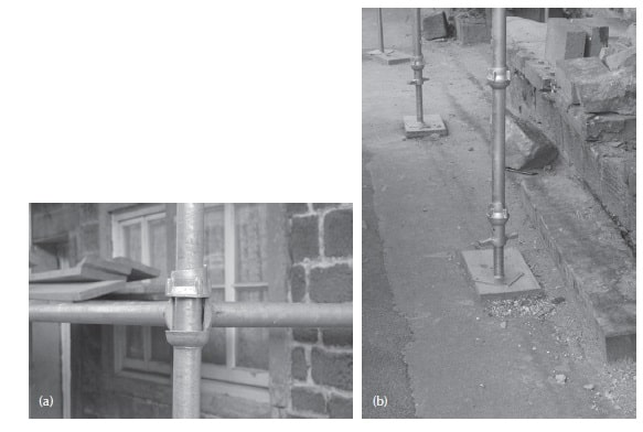 (a) Proprietary connection for standards, ledgers and transoms. (b) Standards with adjusting jack and base plate