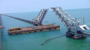 Large Barge Crossing the Bridge