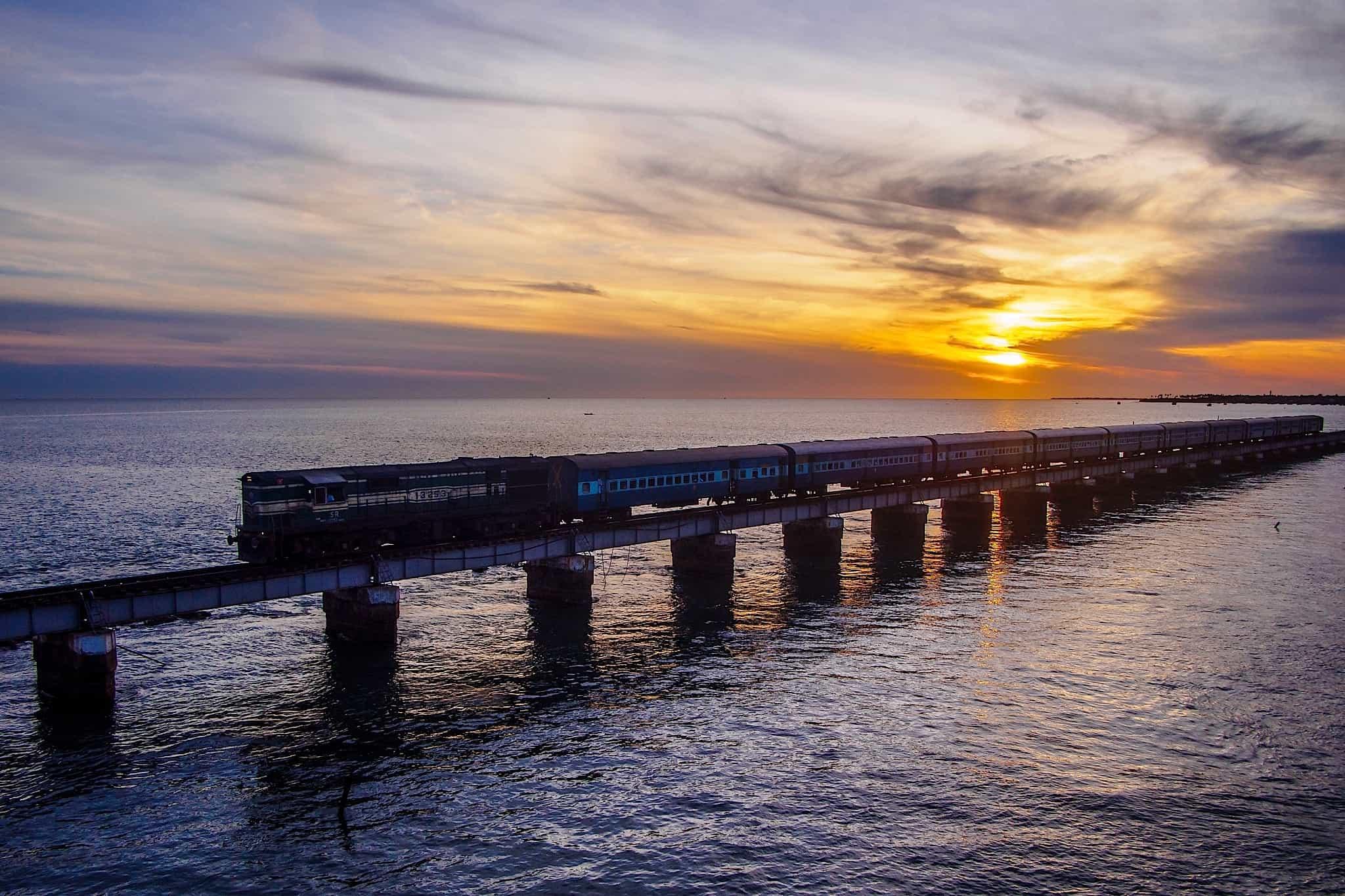 Sunrise from the Pamban Bridge