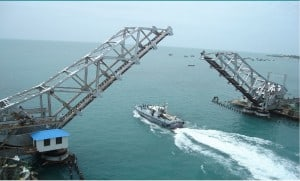 Tow Ship Crossing the bridge