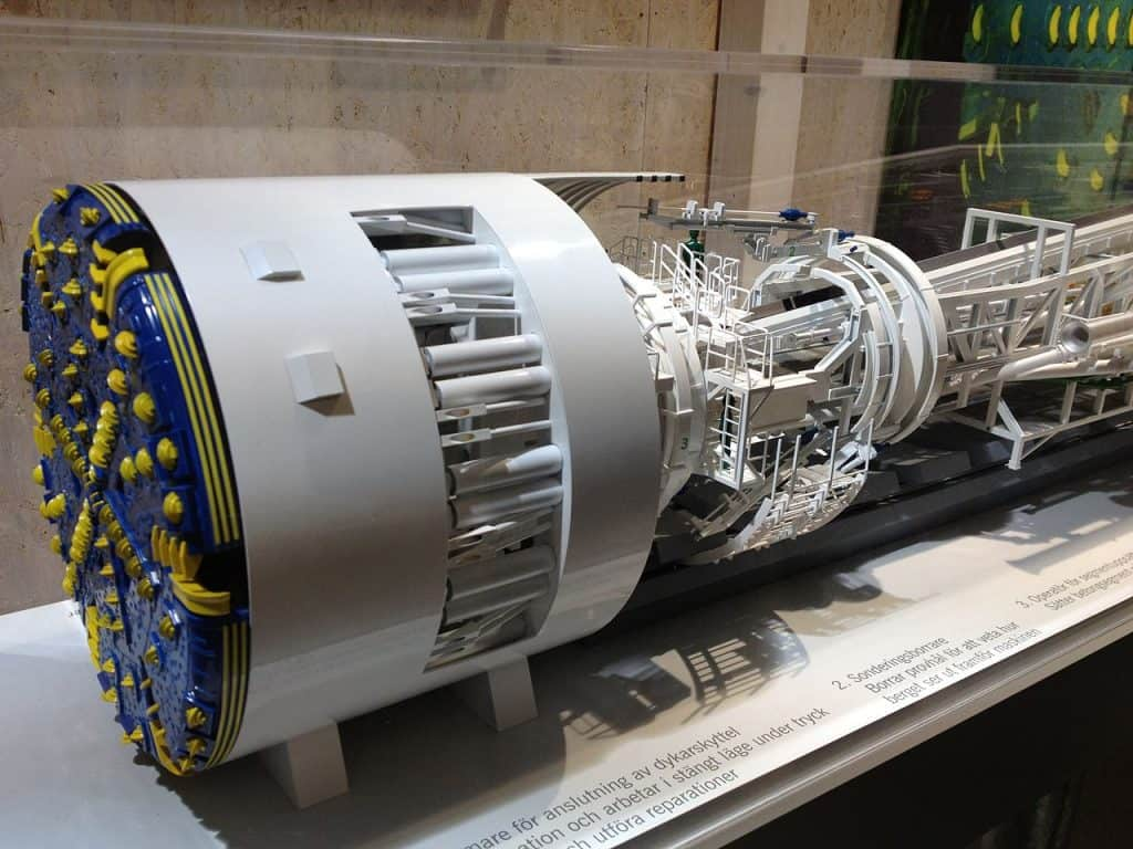 Model of the tunnel boring machine (TBM) Åsa used to dig and line the Hallandsås tunnel.