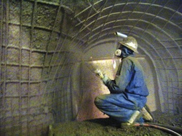 Application of shotcrete