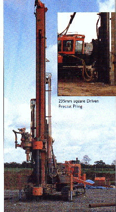 Pile driving using hammer