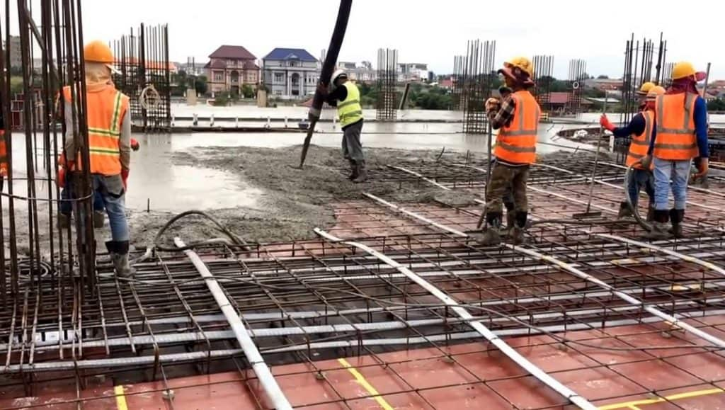 Prestressed Flat Slab Concrete Pouring Process