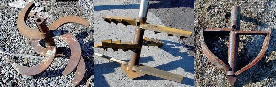 A selection of dry mixing tools used for different soils