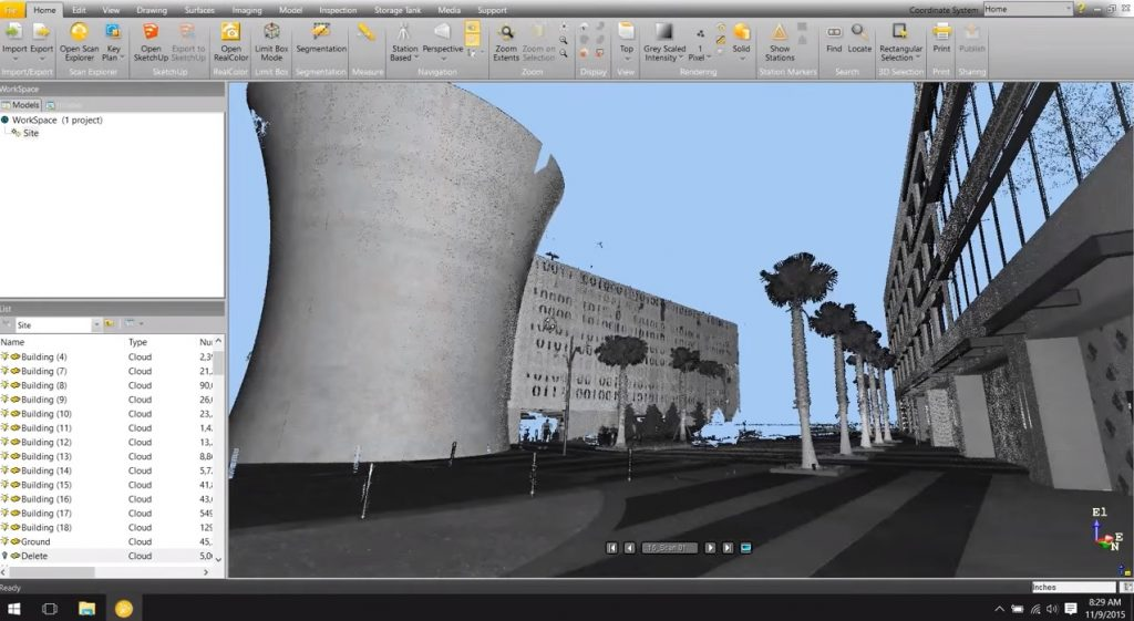 Survery output from 3D Laser Survey (Source - YouTubeBuildingPoint Florida)